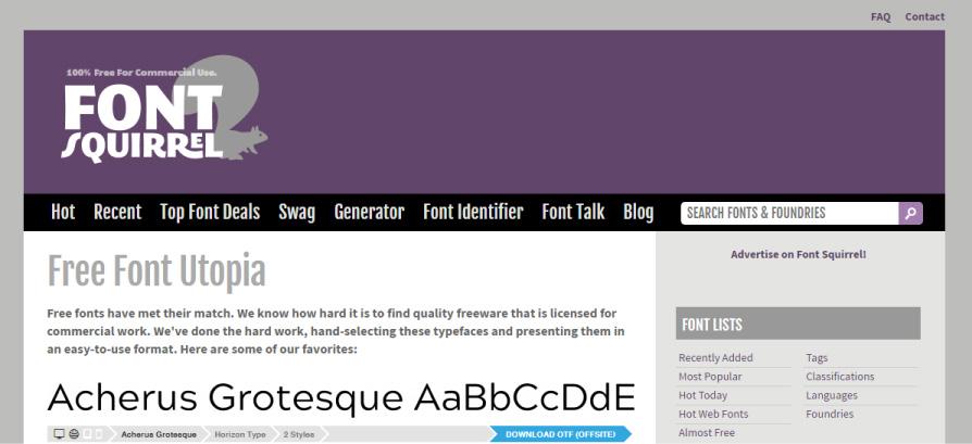 besplatni fontovi font sqirrel