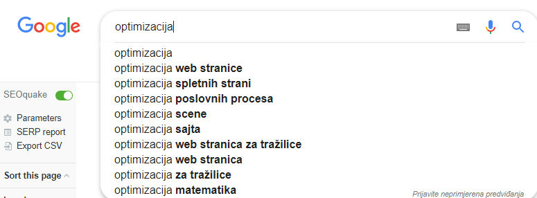 optimizacija web sajta google suggest