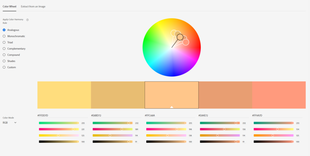 color wheel alat za grafički dizajn