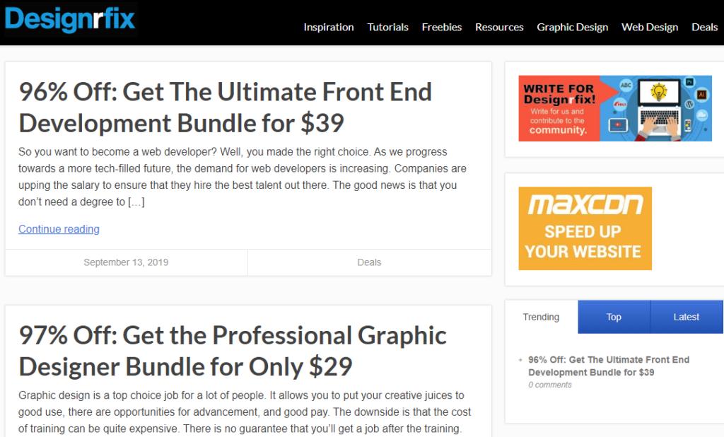 Designrfix sajt za učenje grafičkog dizajna