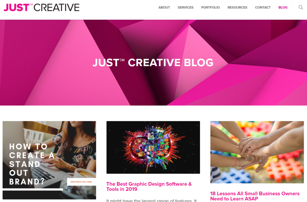 Just Creative Blog sajt za učenje grafičkog dizajna
