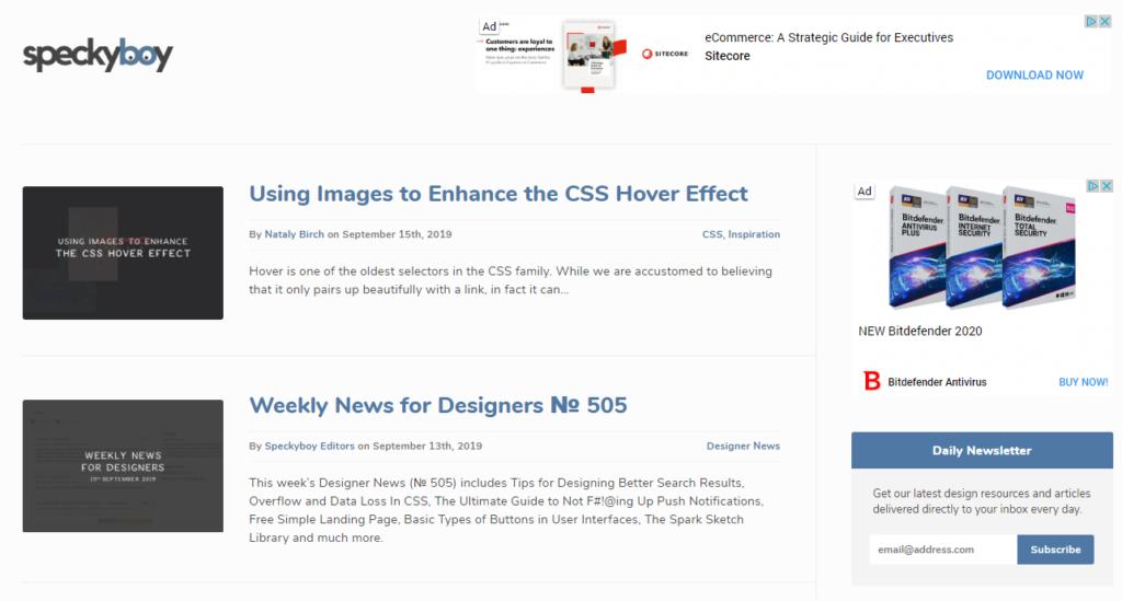 Speckyboy web sajt za grafičke dizajnere