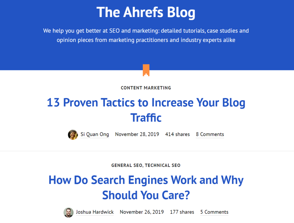 najbolji SEO blogovi: Ahrefs