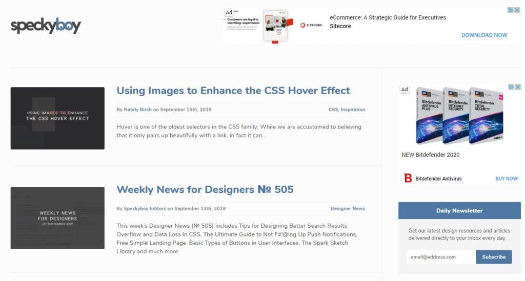 Speckyboy sajt za grafičke dizajnere